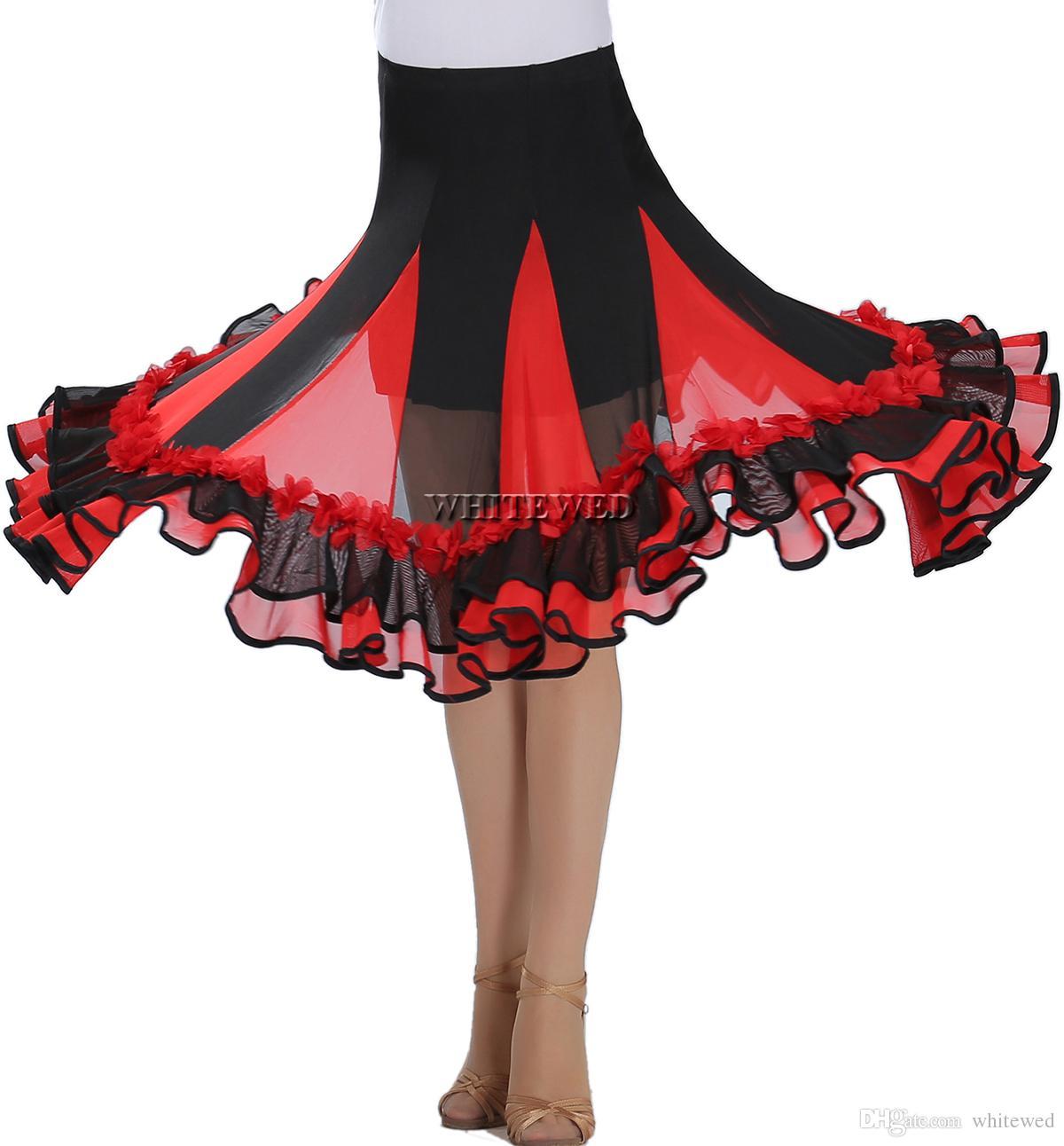 Ruffle Women's Dancers Village Dance Skirt Ballroom Latin Modern Dancewear Square Ballroom Latin Dancing Ddance Practice Wear Costume