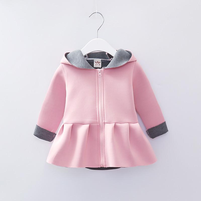 8476160268b9 Toddler Cute Baby Girls Hooded Coat Long Sleeve Rabbit Ears Zipper ...
