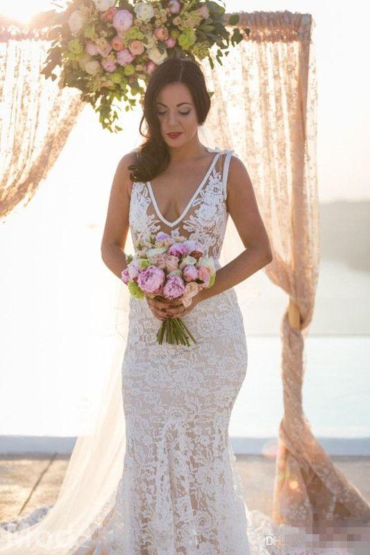 Vestidos de novia de encaje sexy con bolsillo Vestido nupcial de la playa sin espalda de la trompeta de la playa sin respaldo del bolsillo sin velo sirena vestidos de boda sin espalda