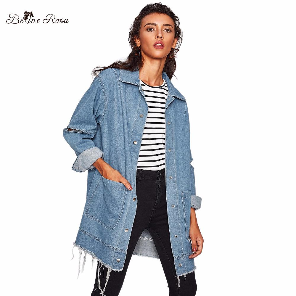 c60bf460bc8 2019 BelineRosa 2018 Fashion Trending Denim Coats For Women Plus Size Women  Clothes Hole With Vintage Oversized Coat Female OST00034 From Fitzgerald10