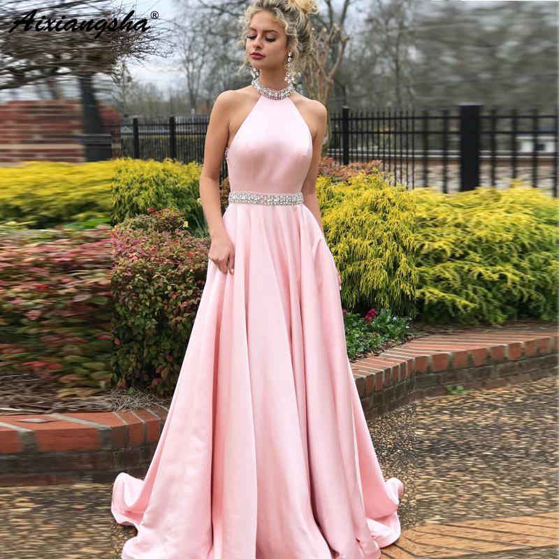 Sleeveless Beaded Crystal Halter Neck Backless Satin Pink Evening Dress  Vestidos De Fiesta Long Graduation Prom Dresses 2018 Online Prom Dresses  Orange Prom ... 17dcf7b03bc3