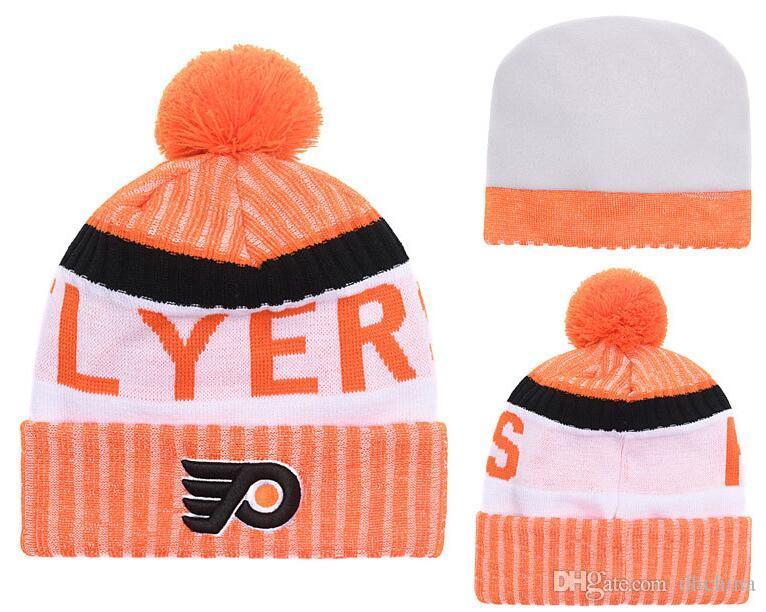 New Beanies Flyers 2018 Hot Knit Hockey Beanie Pom Pom Knit Hats ... dcc56155b45