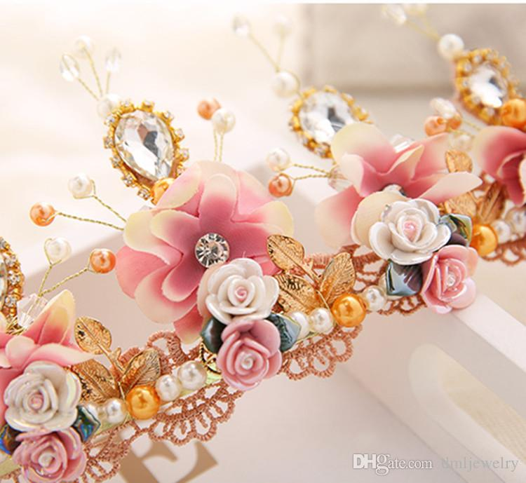 Crystal Flowers Bridal Headpieces Wedding headbands Tiaras Women Hair Band Wedding Headdress Women Girls Crowns Hair Jewelry Accessories