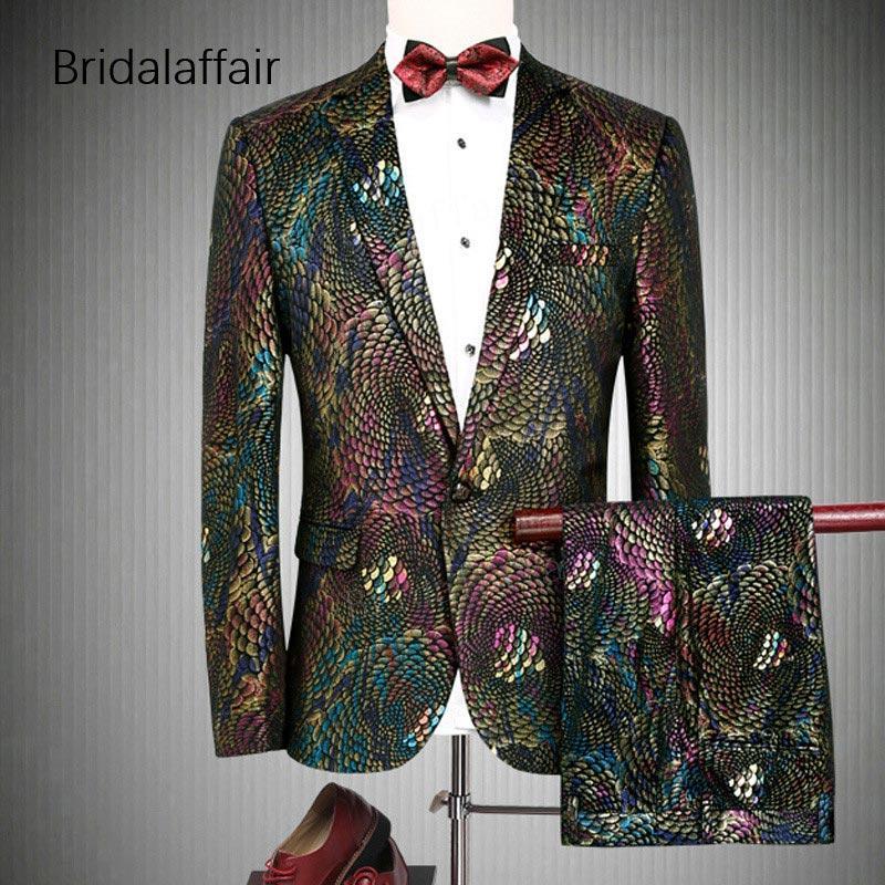 c8e69c1c39a4a Compre KUSON Elegantes Trajes Para Hombre Fiesta De La Moda Prom Wedding  Tuxedos Para Hombres Slim Multicolor Men Suit Blazer Con Pantalones 2  Piezas Set ...