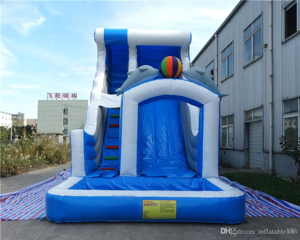 inflatable water slides kids double dolphin slide with blower for sale