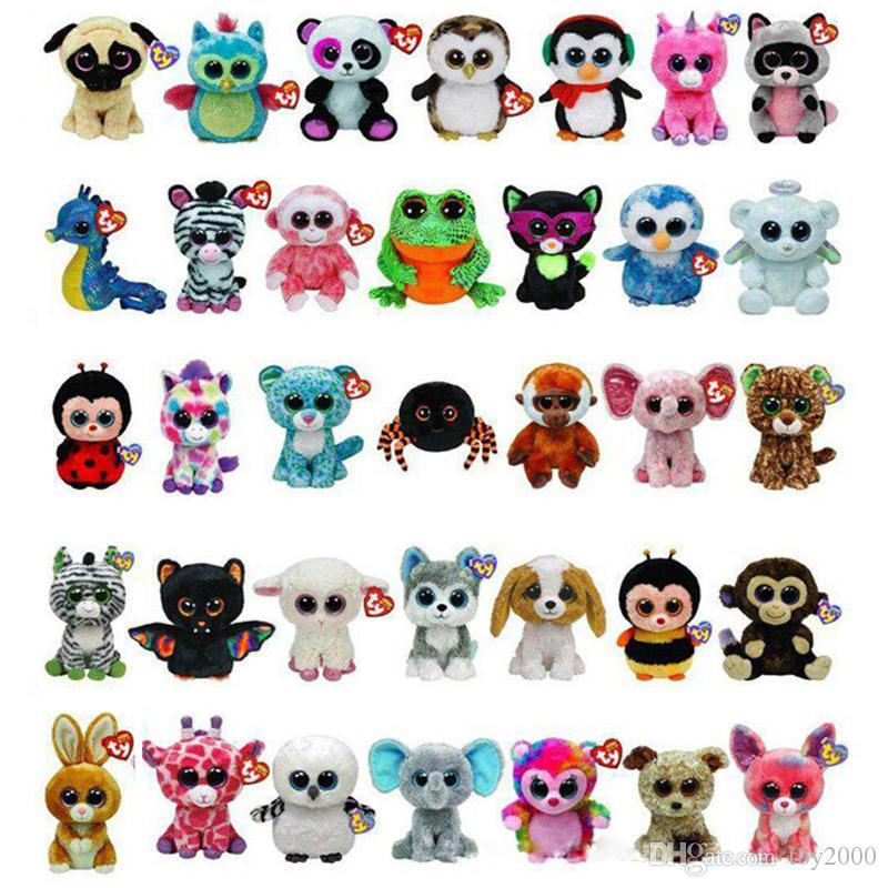 35 Design Ty Beanie Boos Plush Stuffed Toys 15cm Wholesale Big Eyes Animals Soft Dolls for Kids Birthday Gifts ty toys OTH754