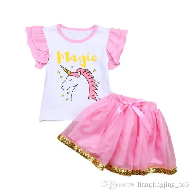 fd5659a0e6 2019 Ins Baby Girls Unicorn Outfit Clothes Unicorn Ruffles Top T Shirt Lace  Child Shirt Tutu Skirt Suit Outfit Tutu Skirt Dress KKA4415 From ...