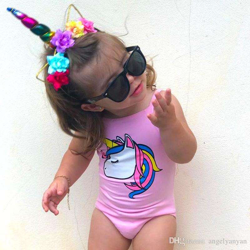 Newborn Infant Kids Baby Girl Unicorn Swimwear One-piece Swimsuit Bathing Suit Beach Clothes Swimwear Black Pink White