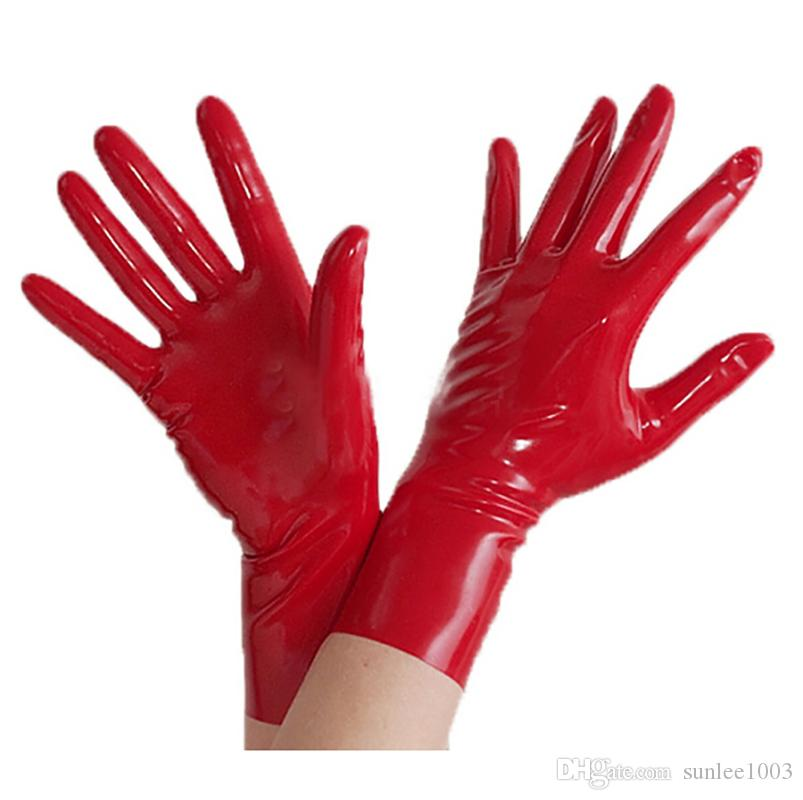2018 Hot Sale Top Fashion exotic Sexy Lingerie Short Latex Wrist Gloves Women Men Zentai Fetish with no spliced line