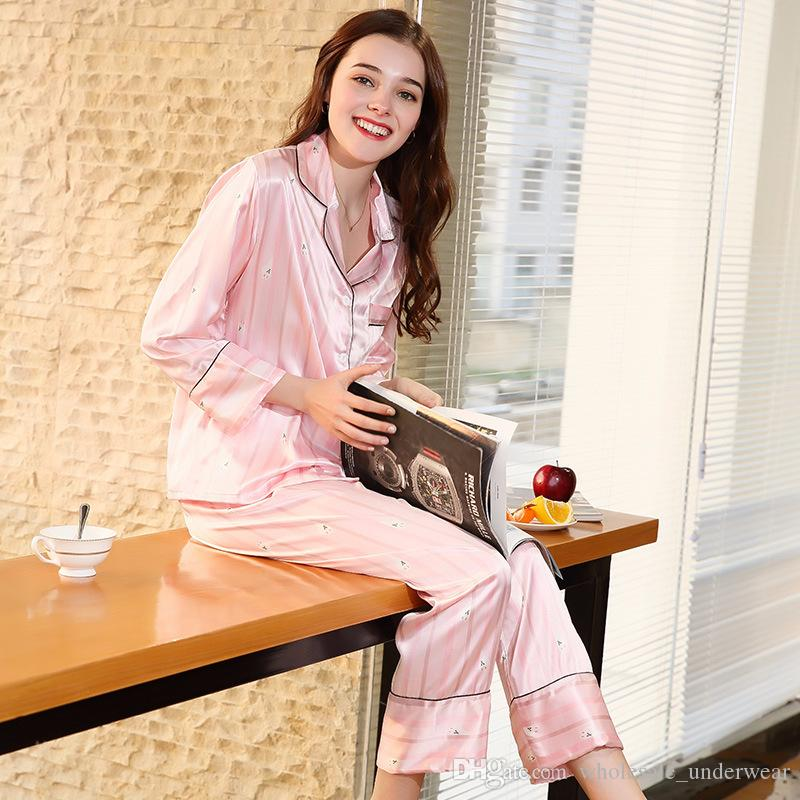 Luxury Spring Pink Striped Long Sleeve Casual Pajama Set Top Pants ... 775801a64