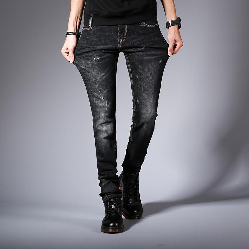 5a61cfe9683c Acheter Jeans Slim Hommes 2018 Nouvelle Mode Printemps Stretch Denim Jeans  Homme Élastique Occasionnel Mince Jean Pantalon Mâle Qualité Homme Pantalon  De ...