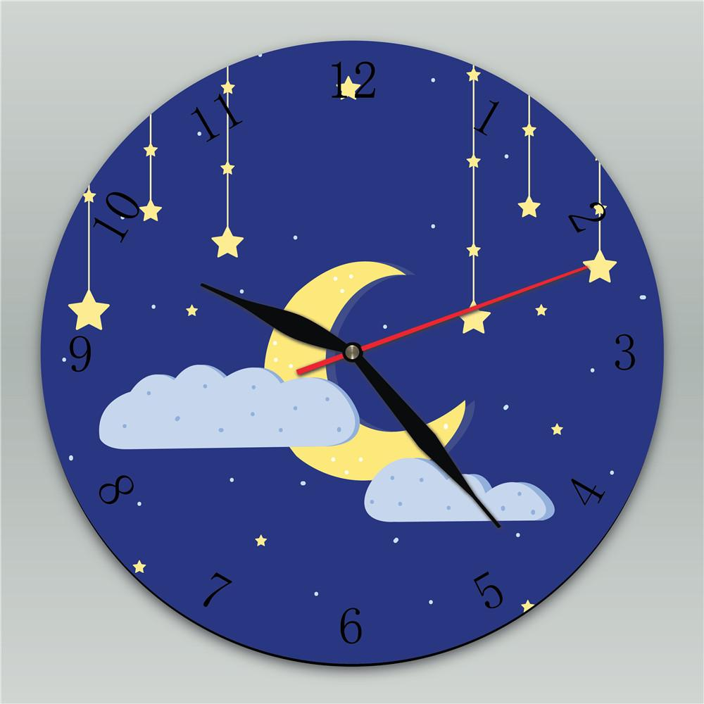 Moon Stars Clouds Vintage Round Silent Wall Clock Cartoon Wooden