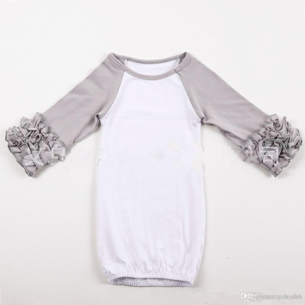 Infant sleep clothing Baby girl boy Cotton Gowns Ruffle Gown Long Sleeve sleep bag for infant boutique clothing romper 0-2T