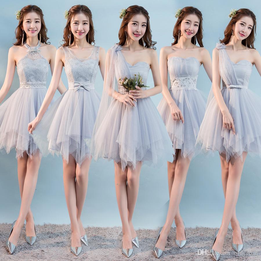 Sweet Memory Gray Short Champagne Pink Bridesmaid Dress Bride Sister ...