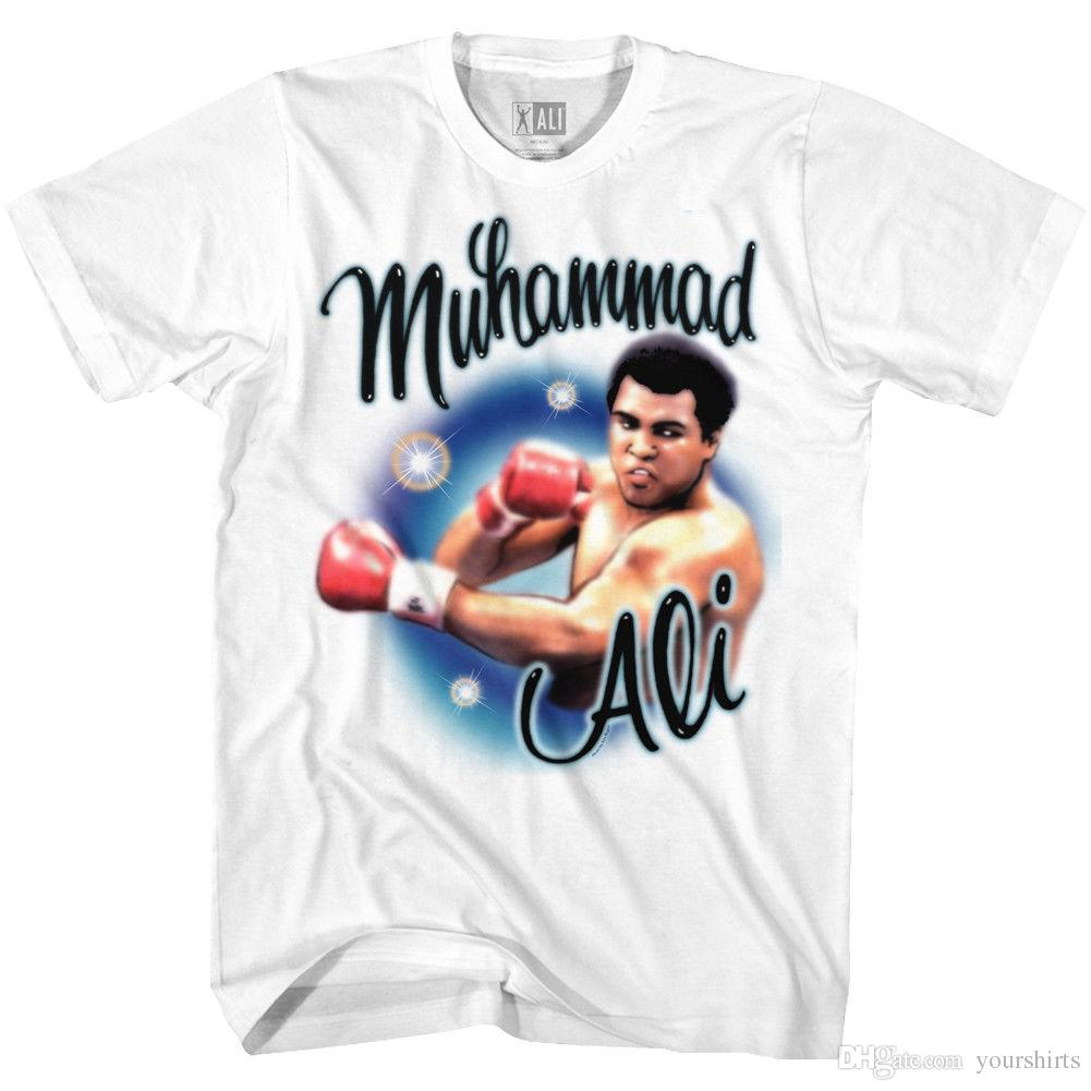 Muhammad Ali T Shirt Airbrush Punch Portrait White Tee T Shirt Men