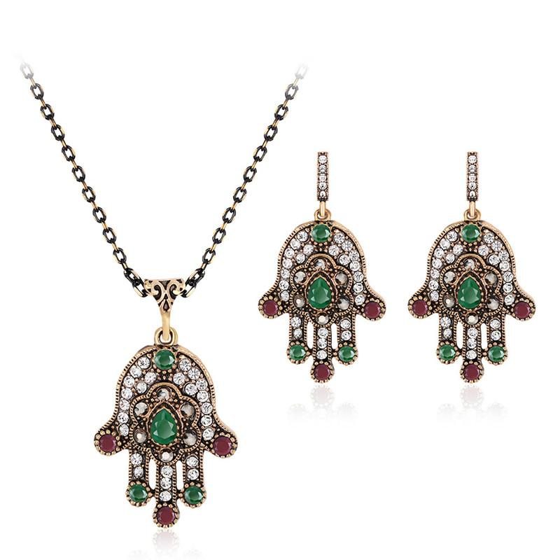 Indian Wedding Jewelry Sets For Women Antique Gold Color Multi Color Crystal Hamsa Hand Pendant Necklace And Earrings Set