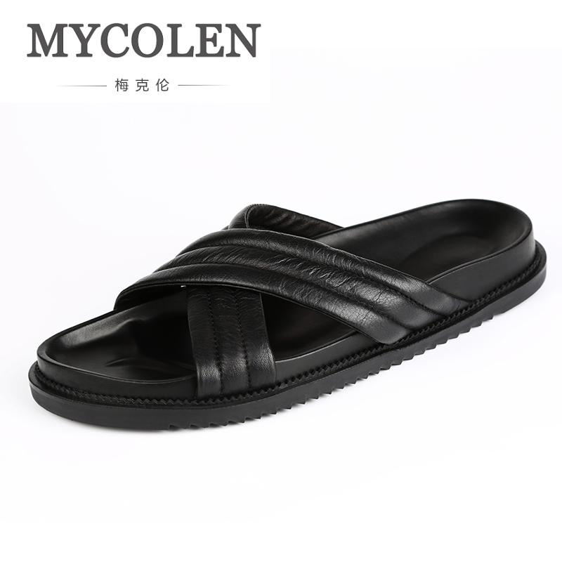 7e9ba52ee30 MYCOLEN Men S Leather Slippers Luxury Brand Summer Leisure Fashion Beach  Shoes Comfortable Flat Slides Sandals Infradito Uomo Moccasins Thigh High  Boots ...
