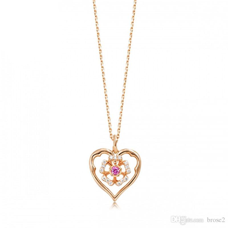 Wholesale silver necklace female japanese and korean silver pendant wholesale silver necklace female japanese and korean silver pendant heart pendant love pendant 18k rose gold silver jewelry diamond heart pendant necklace aloadofball Choice Image