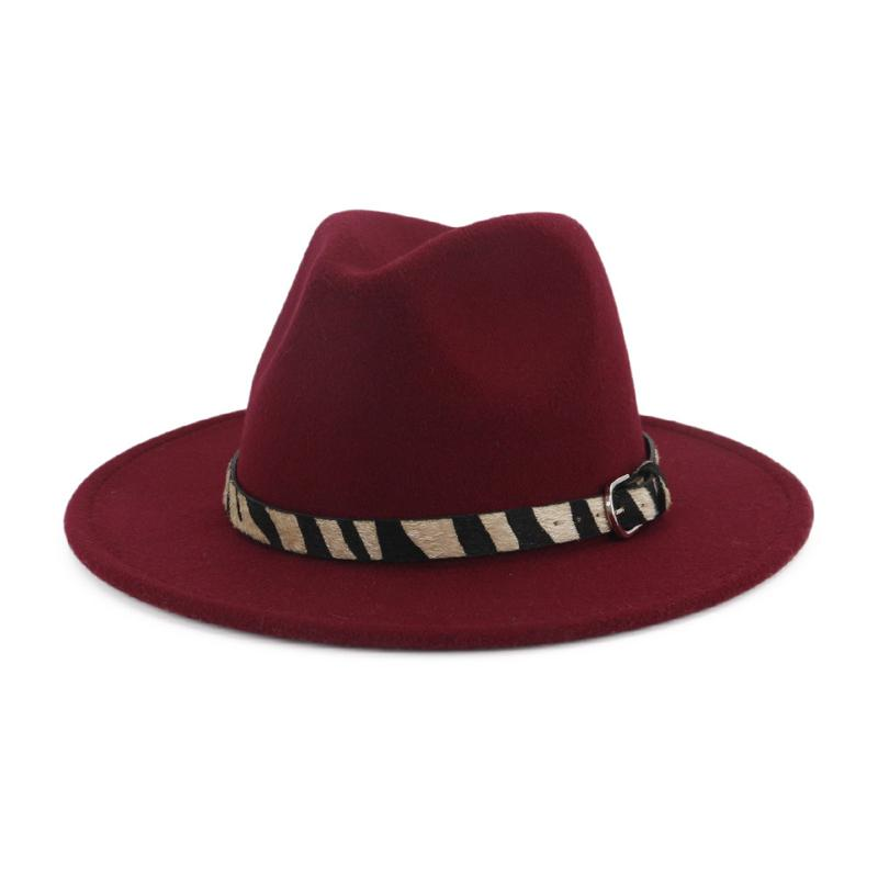 28834e4bd5e Plain Solid Color Wide Brim Male Female Wool Felt Fedora Hat Zebra Stripe  Belt Fashion Jazz Panama Hat Trilby For Men Women Straw Hats Wedding Hats  From ...