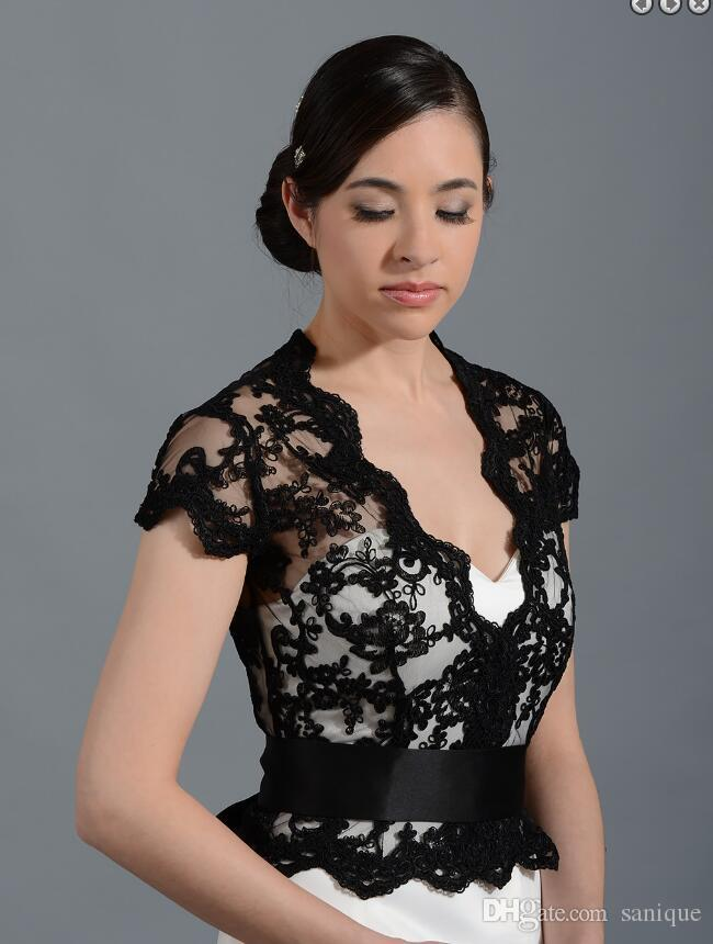 Cheap Black Lace Applique Wedding Dress Bolero Newest White Wedding Bolero Shrugs jacket Custom Made Bridal Wraps Accessories