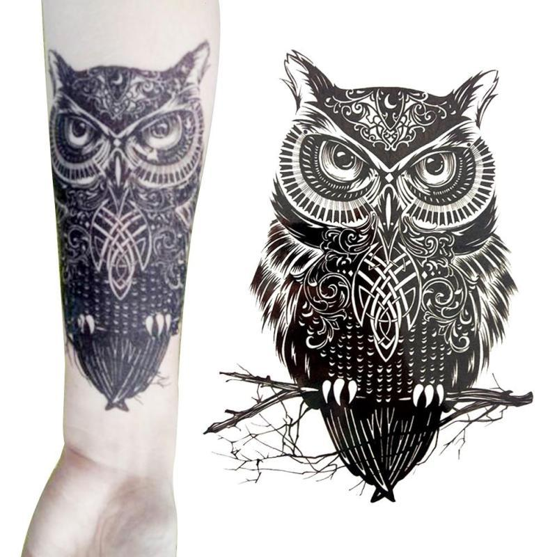 Owl Tattoos Stickers Arm Back Leg Body Art Trendy Large Temporary