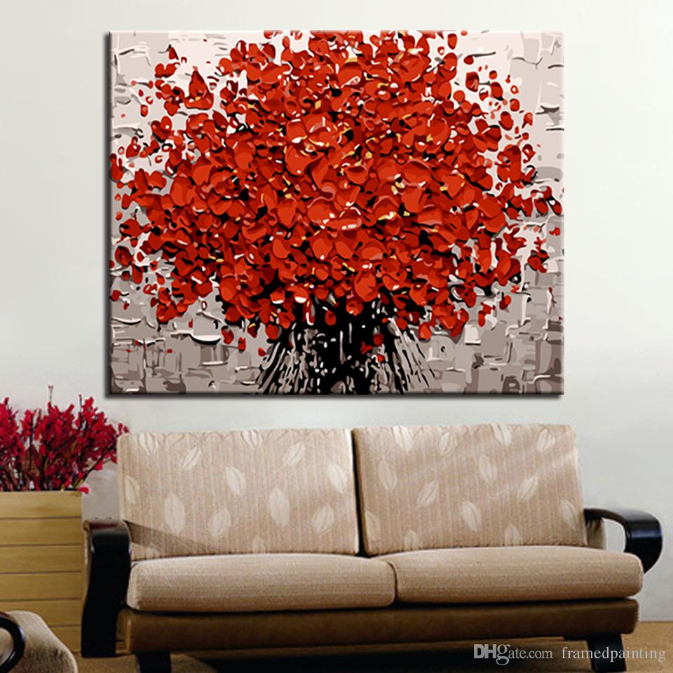 Diy Oil Painting By Numbers Hand Painted Red Flower Bouquet Pictures On Canvas Digit Kits Coloring Scenery Home Decor Wall Art