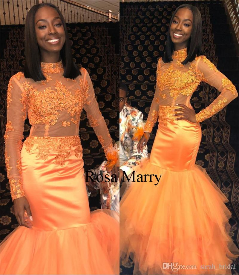 cca0fcb59d5 Sexy Orange Mermaid 2K18 Prom Dresses Vintage Lace Long Sleeves Plus Size  Black Girls African Arabic Girls 2019 Pageant Formal Evening Gowns Short Sexy  Prom ...
