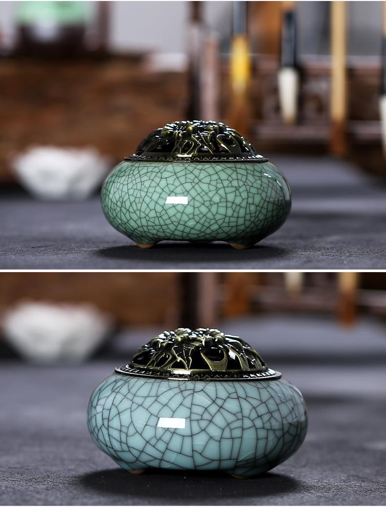 Ceramic Incense Holder Cover Vintage Retro Chinese Incense Burner Censer with Base for Home Living Room Office Teahouse