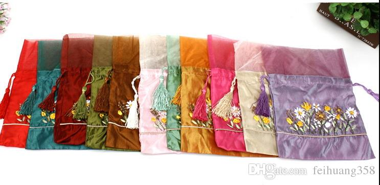 Ribbon embroidery Organza Tassel Gift Bag Candy Tea Favor Pouch Satin Fabric Drawstring lavender Jewelry Storage Pocket
