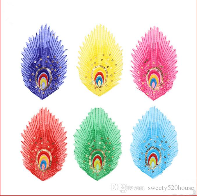 Diy high quality fabric peacock feather applique garment embroidery cloth fabric sticker sewing process sewing SN.