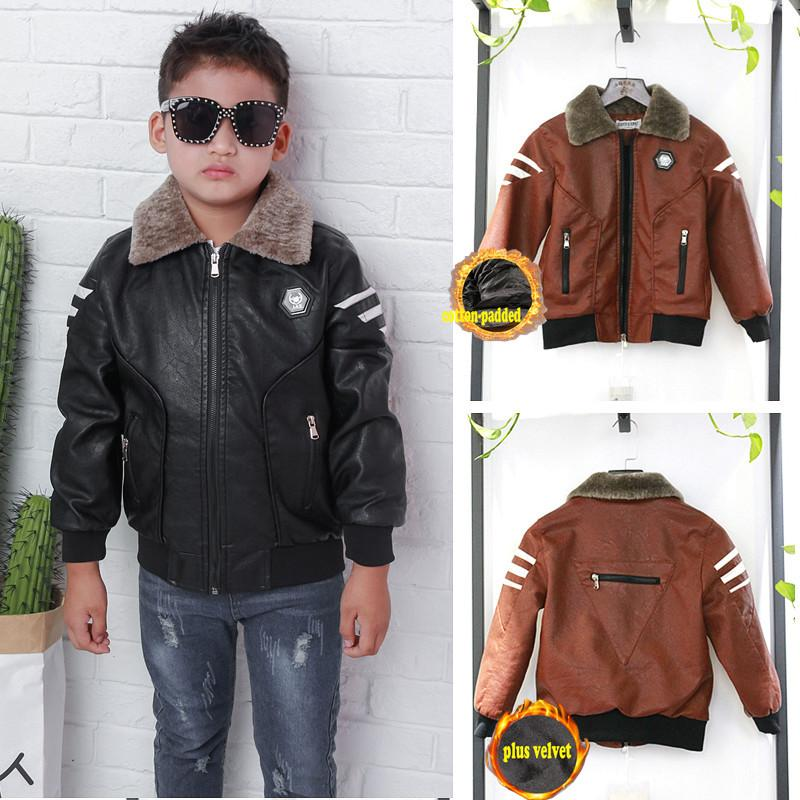 697a4e890afc Fur Collar Fashion Boys Leather Jacket Kids PU Clothes Early Winter ...