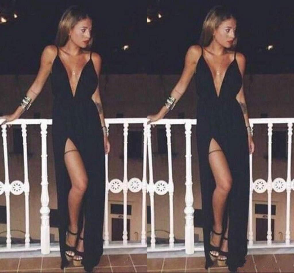 2018 Sexy Deep V-Neck Formal Evening Dress Elegant Spaghetti Sleeveless Said Split A-Line Party Prom Dress