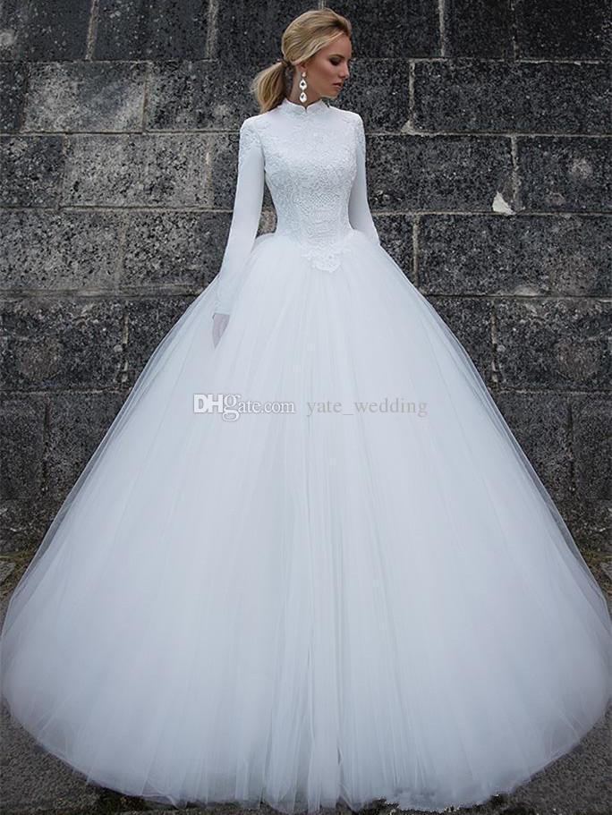 Lange Ärmel Muslim Brautkleider 2019 Elegante Stehkragen Lange Ärmel Spitze Satin Tüll Bodenlangen Ballkleid Brautkleider Brautkleider