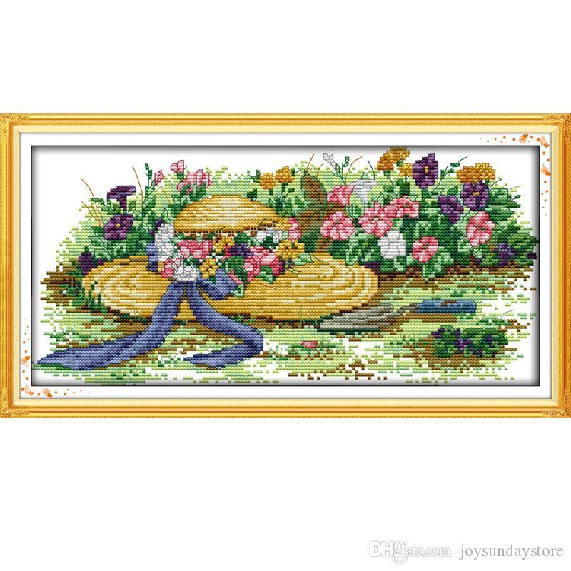 Цветы и соломенные шляпы узоры счетный крест стежка комплект DIY ручной работы вышивки рукоделие рукоделие украшения дома отправить подарок