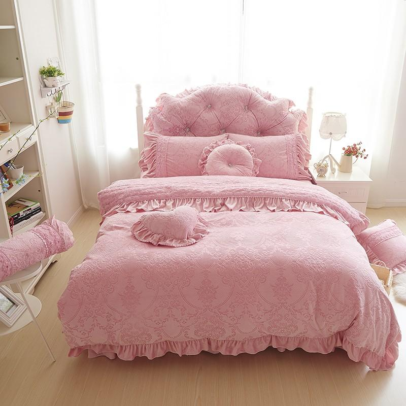 Very best Wholesale Thick Warm Velvet Duvet Cover Set King Queen 4/d Pink  AA89