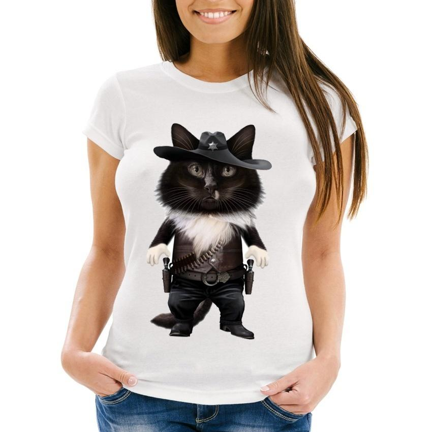 439fa65a 2018 New Summer Fashion Women'S Short SleeveSheriff Cat T Shirt Soft Fabric  Casual Tees Funny Cat Design Kawaii Girl Tops Tees Designs Find A Shirt  From ...