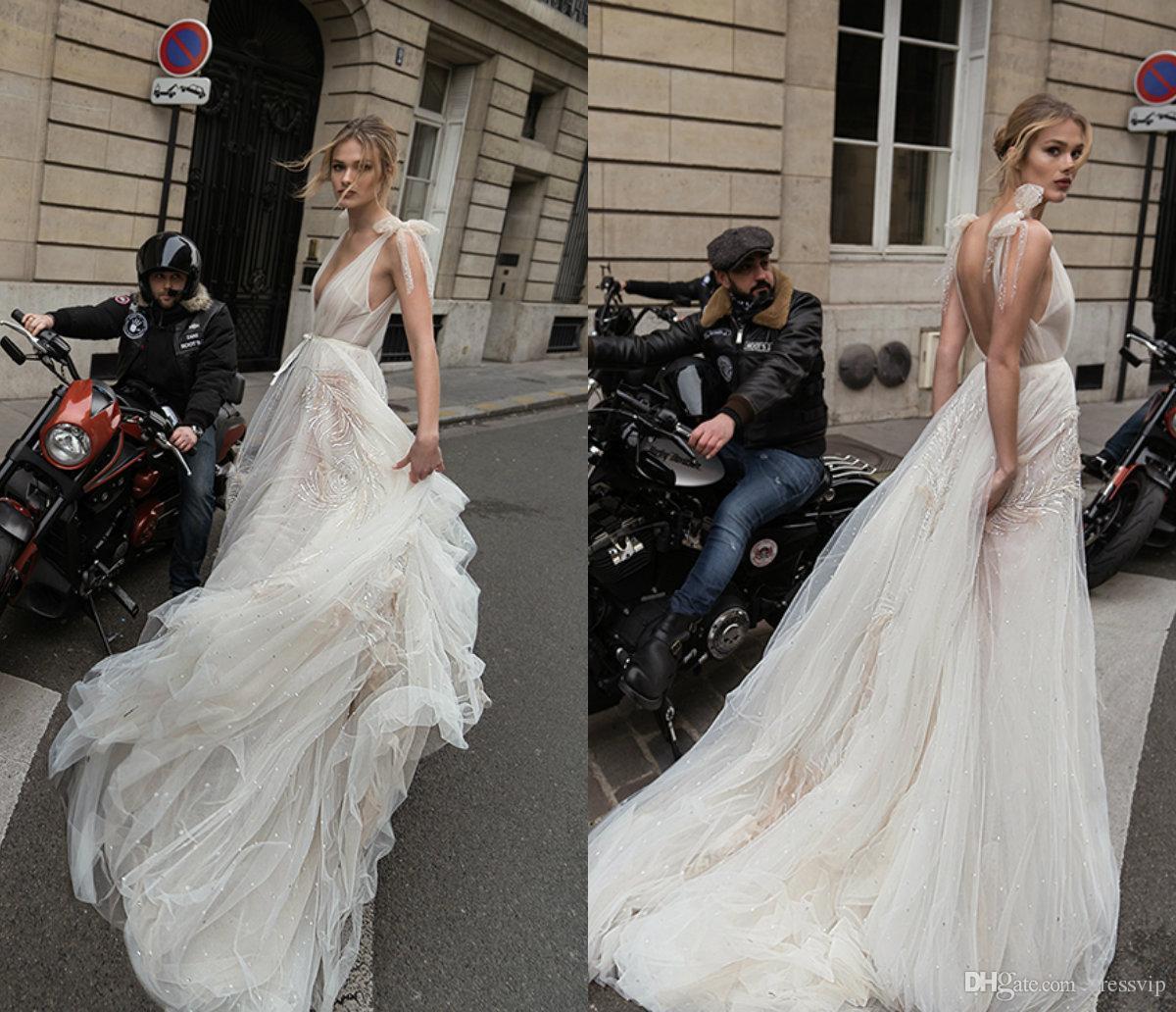 Discount 2019 Inbal Dror Wedding Dresses A Line Bling Sequins
