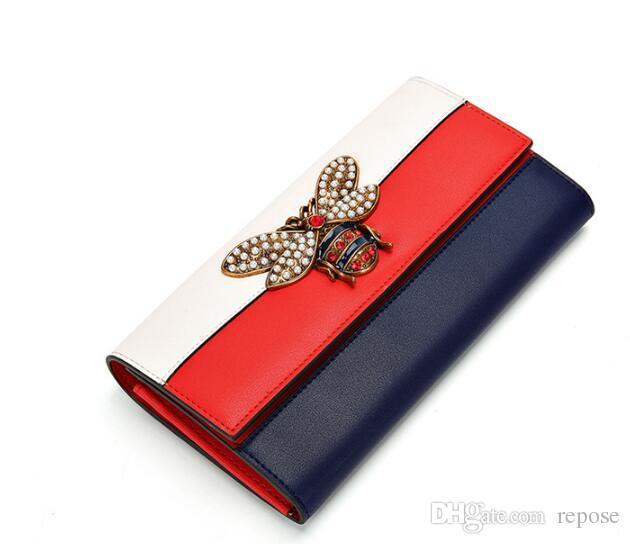 2018 portefeuille de marque dame vente chaude La petite abeille ornée sac à main femme en cuir de sac à main