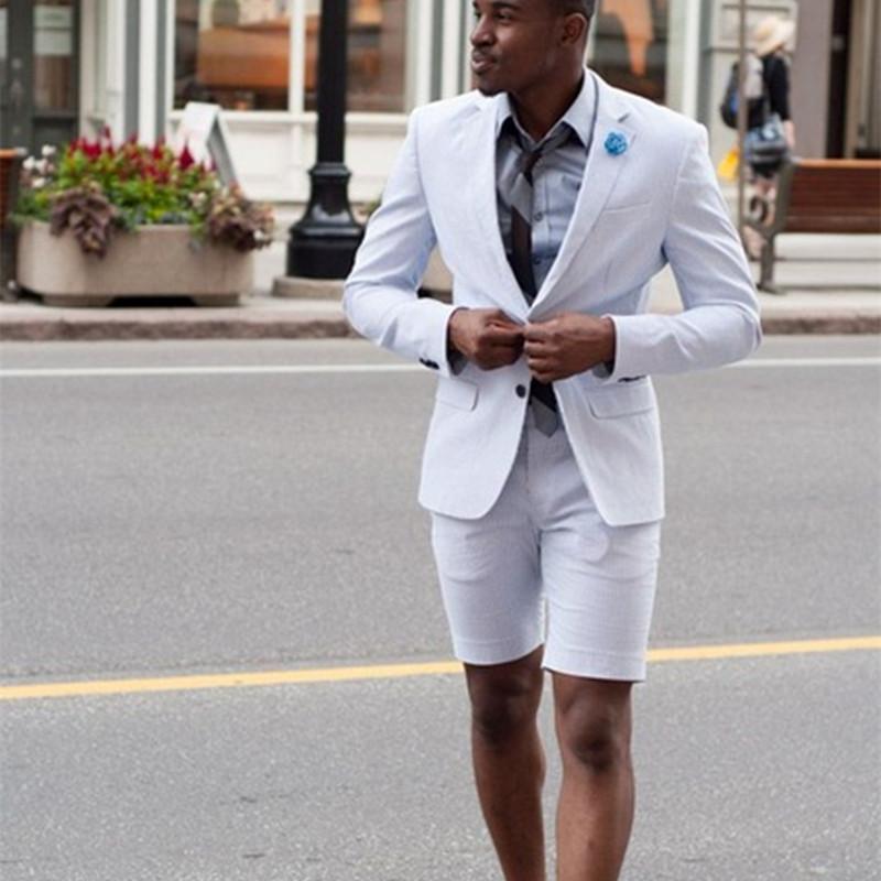 Compre Nuevo Elegante Marfil   Blanco Traje De Hombres Pantalones Cortos  Terno Masculino Youny Hombres Trajes De Desgaste Del Verano Establece 2017  Nuevo ... 9144d7e5ca4