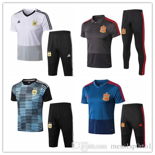 2018 World Cup Training uniform 18/19 Spain Blue Training Clothes 3/4Green White Training Suit Argentina Blue Sport Suits On Sale