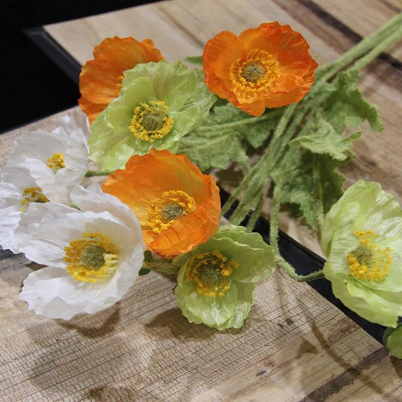 Artificial Flowers Poppy Poppies Silk Flowers For Wedding Decoration