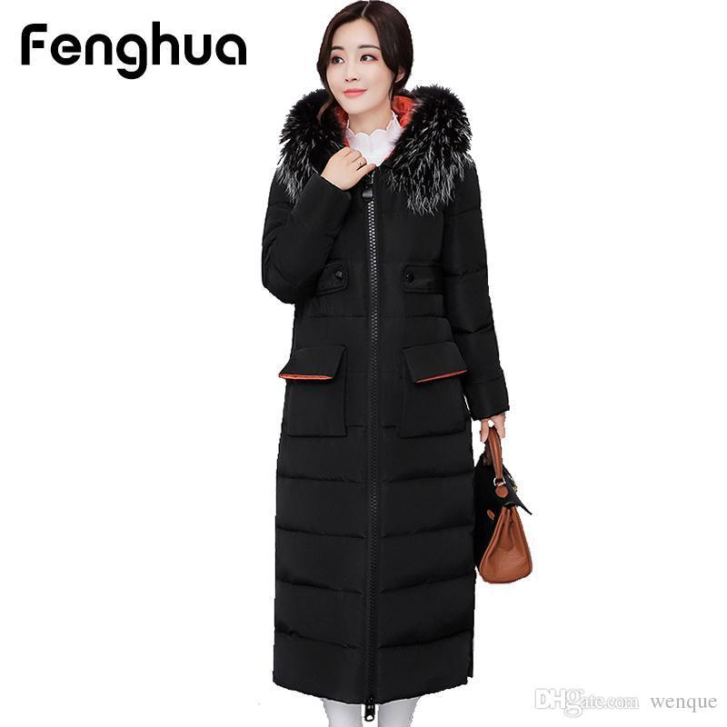 1582480748 Fenghua 2017 Casaco de Inverno de Moda Casual Mulheres Com Capuz De Gola De  Bolso De Pele X-Longo Algodão Parka Quente Grosso Casaco de Baixo Barato ...
