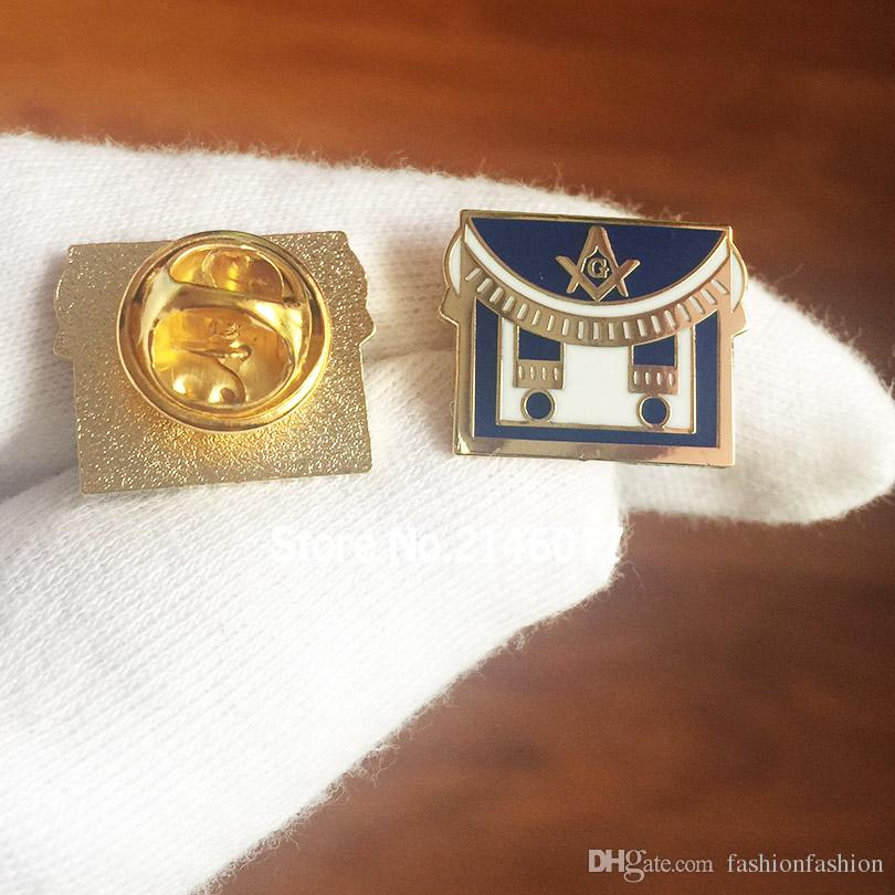 50pcs Custom Making Pin Badge Masonic Apron Mason Freemason Square and  Compass Lapel Pins Enamel Brooch Free Masons Metal Craft
