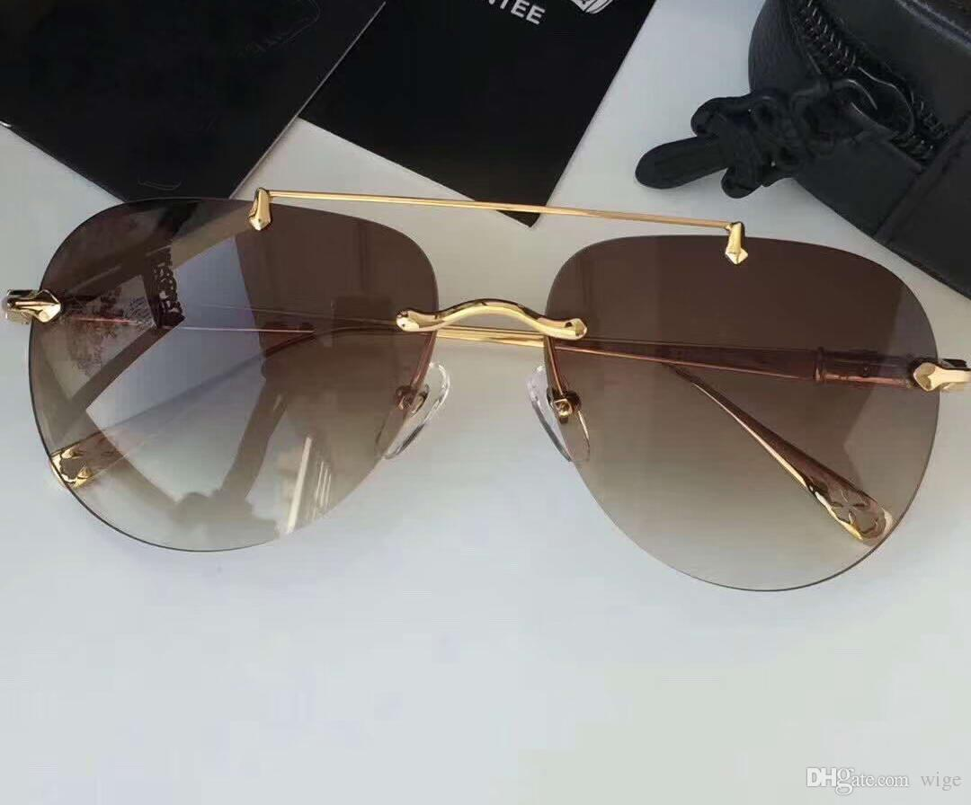 Großhandel Männer Flecken V Sonnenbrille Chocolate Brown Gold ...