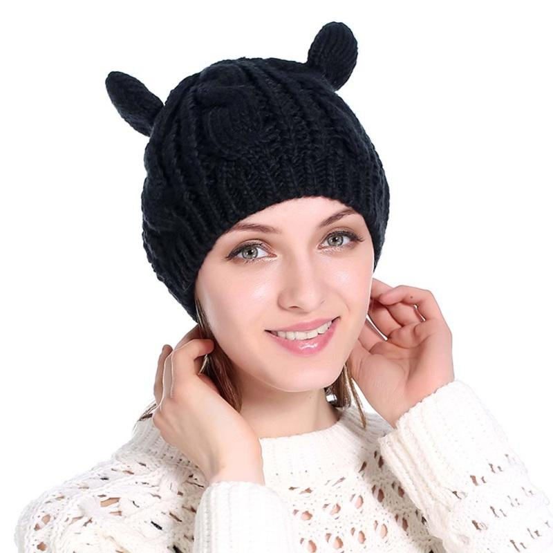 d788fd5fb12 2019 New Female Warm Knit Ski Wool Hat Outdoor Sprot Women Winter Cap Cat  Ear Beanie Crochet Braided Cap 2018 From Suipao