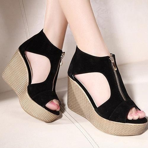 Sandalias Tacones Mujer Altos Zapatos G Cremalleras Vintage Mkiling Abierta Con Cuñas Plataforma Punta TiZPXOku