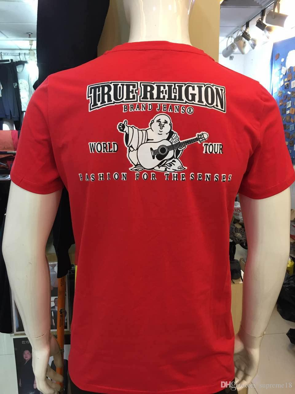 81a01d8b80c7 2018 High Quality USA Red Black White Mens Robin True Jeans Crew T Shirt  With Wings Real American Jeans Mtorcycle Club Slim Short Sleeve TEE Best T  Shirts ...