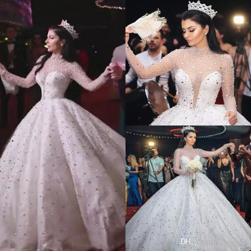 576676ece8 Expensive 2017 Luxury Crystals High Collar Long Sleeve Ball Gown Wedding  Dresses Bling Bling Bridal Gowns Custom Made China EN12142