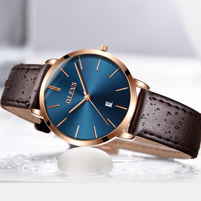 3f2ee192bec Compre Top Marca De Luxo Relógios Das Mulheres Coréia Popular Casual Relógio  De Quartzo Relógio De Couro Genuíno Ultra Fino À Prova D  Água Relogio  Feminino ...