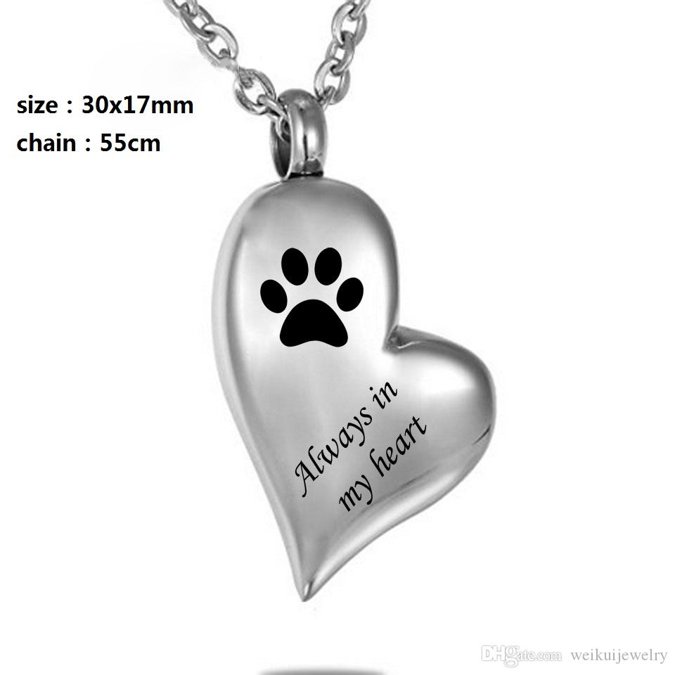 "custom heart paw print ""always In My Heart ""Cremation pet Jewelry Keepsake Memorial Urn Necklace"